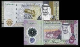 1+1 UNC SAUDI ARABIA 5+20 RIYALS NEW 2020 POLYMER+ANNIVERSARY G20 BANKNOTES UNC - Saoedi-Arabië