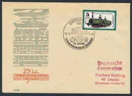 DDR Germany 1977 Brief Cover - 25 Jahre Verkehrsmuseum Dresden / Transport Museum / Musée Des Transports - Trains