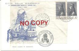 Pico Della Mirandola 25.2.1963, 500° Nascita, Busta Illustrata Numerata Ufficiale Della Città 1° Giorno Di Emissione. - Other