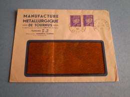 Enveloppe Commerciale Manufacture Métallurgique De Tournus; Pétain 60c X 2 Cachet Tournus Saone Et Loire 1943 - 1900 – 1949
