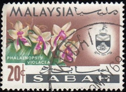 MALAYSIA Sabah - Scott #23 Orchids, Phalaenopsis Violacea / Used Stamp - Malaysia (1964-...)