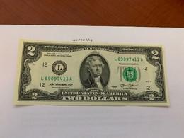 United States Jefferson $2 Crispy Banknote 2013 #11 - Biljetten Van De  Federal Reserve (1928-...)