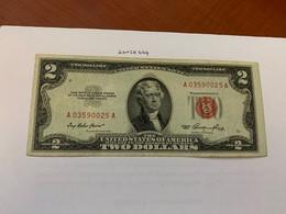 United States Jefferson $2 Red Circulated Banknote 1953 #2 - Biljetten Van De  Federal Reserve (1928-...)