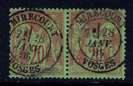 """BELLE OBLITERATION CAD """" MIRECOURT / VOSGES """" Sur PAIRE Au TYPE SAGE N° 96 OBLITÉRÉ 1885 - 1876-1898 Sage (Type II)"""