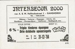 GANSHOREN- INTERDECOR-RUE HELLINCK-CARTE PUBLICITE-TIMBRES VALOIS - Ganshoren