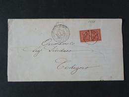 """1877 ITALIA Regno -1866- """"T 15 Torino"""" C. 2 Coppia ARGENTA>CODIGORO (descrizione) - Storia Postale"""