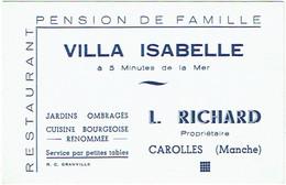 50. Carte Visite - Note. Carolles (Manche) Restaurant -Pension Villa Isabelle. - Cartes De Visite