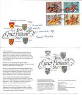 1714o: Guter Motivbeleg- FDC 1974 Great Britain: Ritter- Rüstungen, Wappen, Komplettserie - Omslagen