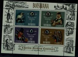 BOTSWANA 1970 100th DAY OF DEATH OF CHARLES DICKENS MI No BLOCK 3 MNH VF !! - Botswana (1966-...)
