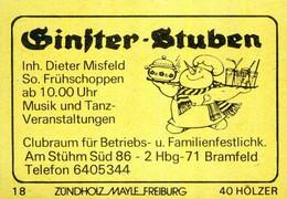 1 Altes Gasthausetikett, Ginster-Stuben, Inh. Dieter Misfeld, 2000 Hbg-71 Bramfeld, Am Stühm Süd 86 #1162 - Boites D'allumettes - Etiquettes