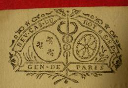 """1737 Généralité De Paris REV.CAS.DU ROY 6S 8D N°346 Devaux """"R"""" Reçu Bedaride Garde Pour Le Roy Aux Salins Montpellier - Gebührenstempel, Impoststempel"""