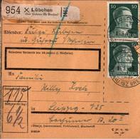 ! 1943 Lübchen über Guhrau, Bz. Breslau Nach Leipzig, Paketkarte, Deutsches Reich, 3. Reich - Covers & Documents