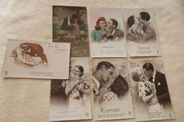 LOT DE 7 CARTES ..TENDRES COUPLES ... BAISERS... - 5 - 99 Postcards