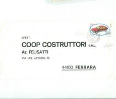 ALFA 33 £.450 (s1667)-ISOLATO LETTERA COOP.COSTRUTTORI FELISATTI FERRARA ,1984, TIMBRO POSTE NAPOLI, - 1981-90: Marcophilia