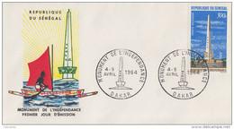 FDC SENEGAL  Monument De L' Indépendance 1964 - Senegal (1960-...)