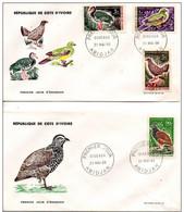 2 FDC COTE-D'IVOIRE. N°249-250 251  252 De 1966 Oiseaux - Côte D'Ivoire (1960-...)