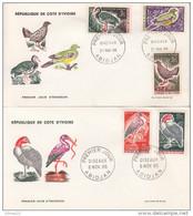 2 FDC COTE-D'IVOIRE.1965 Oiseaux - Côte D'Ivoire (1960-...)