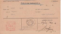 Slovenia SHS 1920 Postal Money Order With SHS Postage Due Stamp, Postmark VOJNIK - Slovenia