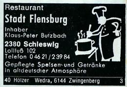 1 Altes Gasthausetikett, Restaurant Stadt Flensburg, Inhaber Klaus-Peter Butzbach, 2380 Schleswig, Lollfuß 102 #1164 - Boites D'allumettes - Etiquettes