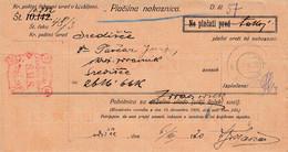 Slovenia SHS 1920 Postal Money Order With SHS Postage Due Stamp, Postmark SREDIŠČE - Slovenia