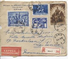 RF2102/ TP 708-636-698-709 S/L.De Groot Vin En Gros Exprès-Recommandé Devant-voorzijde C.Mons 29/4/46 > La Panne - Briefe U. Dokumente