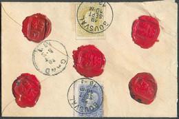 N°31/32 - 20 Et 25 Centimes Obl. ScBOUSVALau Verso D'une EnveloppeASSUREdu 19 Septembre 1883 Vers Gand,contenant 67 - 1869-1883 Leopold II