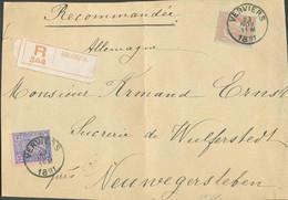 N°48-51 - 25 Centimes Bleu S/rose Et 1Fr. Rouge-brun Sur Vert Obl. ScVERVIERSsur Devant De Lettre Recommandée Du 23 No - 1884-1891 Léopold II