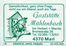 1 Altes Gasthausetikett, Gaststätte Mühlenbach Bei Herbert + Maritta, 4370 Marl, Breitestraße 26 #1165 - Boites D'allumettes - Etiquettes