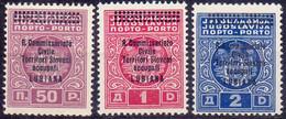 SLOVENIA - ITALIA OCCUPATE - SEGNATASSE  Sa. 11a (11A Ciclamino ?)+12+13 - **MNH - 1941 - Slovenia