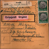 ! 1942 Lusin, Kreis Neustadt In Westpreußen Nach Leipzig, Paketkarte, Deutsches Reich, 3. Reich - Brieven En Documenten