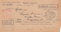 Slovenia SHS 1920 Postal Money Order With SHS Chainbreakers Postage Due Stamp, Postmark LJUTOMER - Slovenia