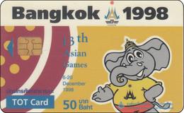 Thailand Phonecard TOT Nr. 001   13th Asien Games Sport Elefant RR - Tailandia