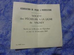 CARTE ASSOCIATION DE PECHE &PISCICULTURE SOCIETE DES PECHEURS A LA LIGNE DE VIAGNEY 1962 TIMBRE - Cartes De Visite