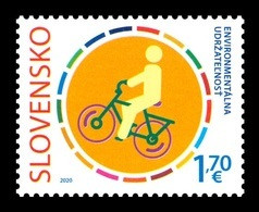 Slovakia 2020 Mih. 898 UN Campaign Against Climate Change Act Now. Bicycle (joint Issue Slovakia-Italy) MNH ** - Unused Stamps