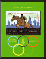 85754b N°156 B Jumping Cheval Horse Moscou 1980 Jeux Olympiques Olympic Games Togo  OR Gold Non Dentelé Imperf ** MNH - Togo (1960-...)