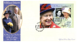 (T 21) Falkland Islands FDC - (2006) Queen Elizabeth Birthday (2 Covers) With Insert - Falklandinseln