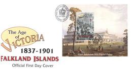 (T 21) Falkland Islands FDC - (2001) The Age Of Victoria (M/S) - Falklandinseln