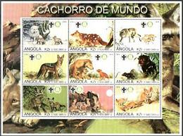 ANGOLA 2000 Block Of 9 MNH (**) Fauna/Animals/Dogs - Cachorro De Mundo - Hunde