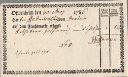 1785 Oppenheim, Fruchtmarkt Quittung - ... - 1799
