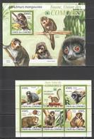 UC018 2009 UNION DES COMORES FAUNA ANIMALS LES LEMURS MANGOUSTES 1KB+1BL MNH - Apen
