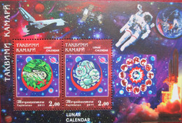 Tajikistan  2011  Lunar Calendar, Year Of The Rabbit   Space   Perforated  S/S   MNH - Chinese New Year