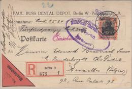 DR - 30 Pfg. Germania Nachnahme Einschreibekarte N. BELGIEN Berlin Brüssel 1916 - Brieven En Documenten