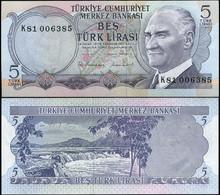 ♛ TURKEY - 5 Lirasi L.1970 UNC P.185 - Turquie