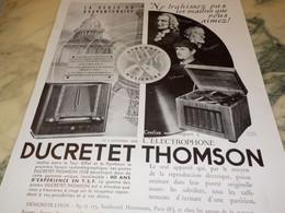 ANCIENNE PUBLICITE NE TRAHISSEZ PAS LES MAITRES  DUCRETET THOMSON 1937 - Altri