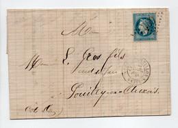 - Lettre FORGES DE CHATILLON-SUR-SEINE Pour POUILLY-EN-AUXOIS 5 NOV 1869 - 20 C. Bleu Napoléon III Lauré GC 969 - - 1849-1876: Classic Period
