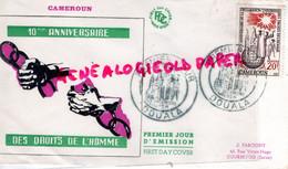 AFRIQUE-CAMEROUN -10 ANNIVERSAIRE DROITS DE L' HOMME- 1958 -J. FARCIGNY 42 RUE VICTOR HUGO COURBEVOIE - Kamerun (1960-...)