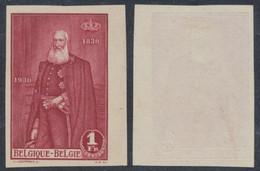 """Essai - Gravure Du Roi Léopold II 1F Rouge Sur Papier Fin + Ajout Du Nom  """"J. Leempoels"""" (Peintre Belge) / STES 4017 - Proeven & Herdruk"""