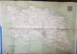 CARTE GEOGRAPHIQUE - JERSEY - ILE ANGLO NORMANDE - ED. J.G. BARTHOLOMEW - ARMOIRIE - ANNEE 30 - Cartes Géographiques