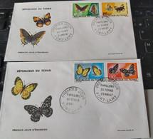 Série Sur 2 FDC Papillons Tchad YT 137 à 140 - Schmetterlinge