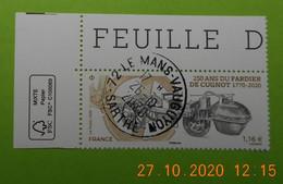 FRANCE 2020    250 ANS DU FARDIER DE CUGNOT    Cachet   ROND  COIN DE FEUILLE - Francia